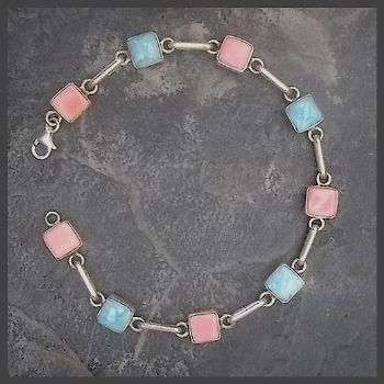 9 Square Stone Larimar & Pink Conch Sterling Silver Bracelet